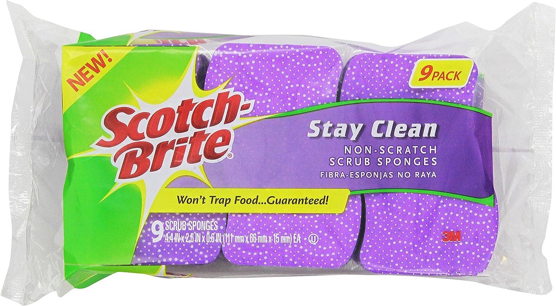 Scotch-Brite Scrub Sponge, Stay Clean Non-scratch, 9 Count