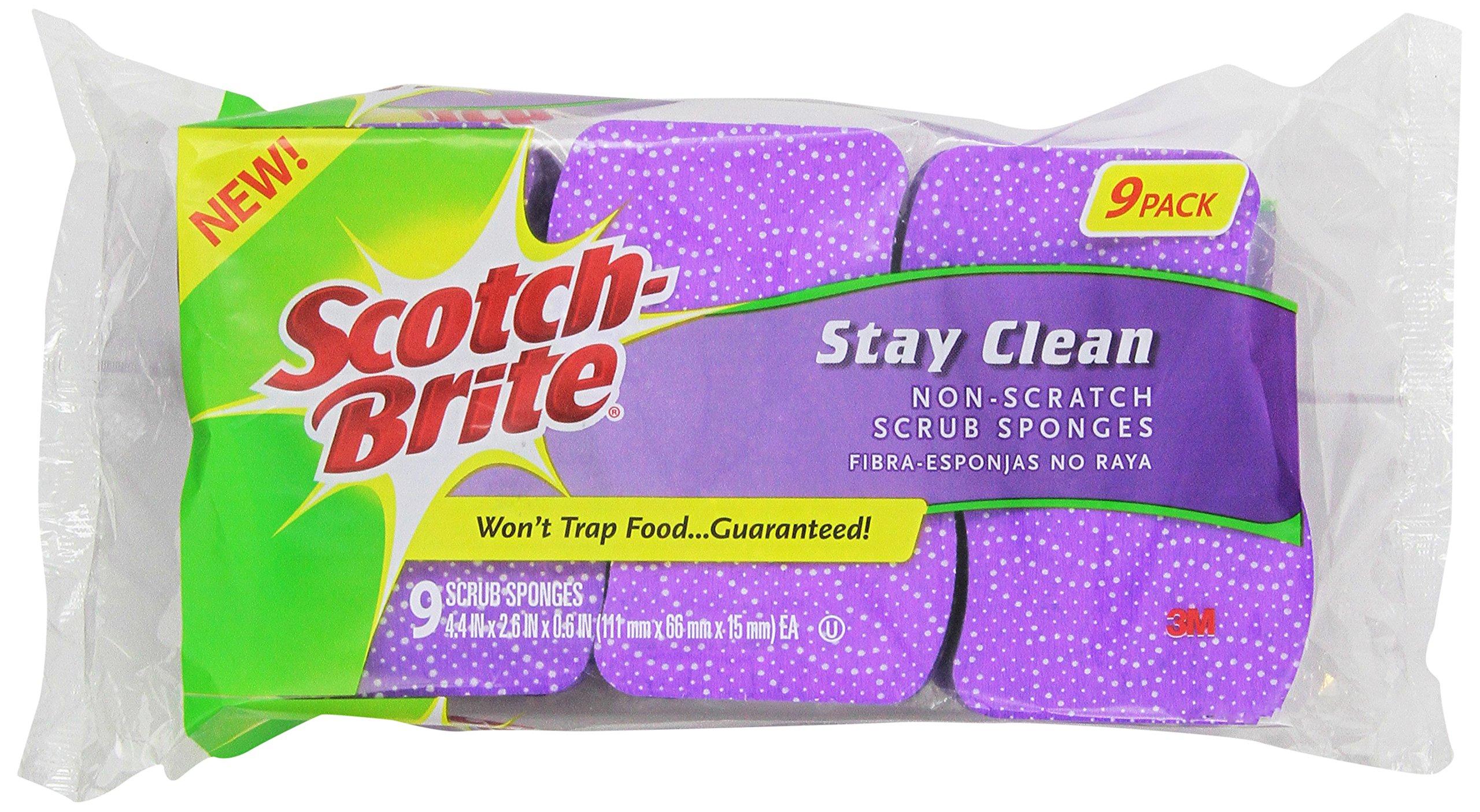 Scotch-Brite Stay Clean Non-Scratch Scrub Sponge, 9-Sponges