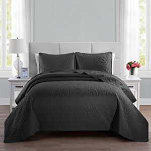"ALPHA HOME 3-Piece Bed Quilt Lightweight Bedspread Set Twin Size 68"" x 90"", 1 Embossing Bedspread, 1 Pillow case 20"" x 26"", Machine Washable Bed Quilt Comforter Bedding Set Duvet Cover, Black"