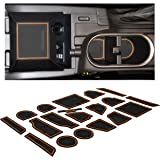 Custom Fit Cup Holder and Door Liner Accessories for 2018 + Subaru Impreza and Crosstrek 14-pc Set (Orange Trim)