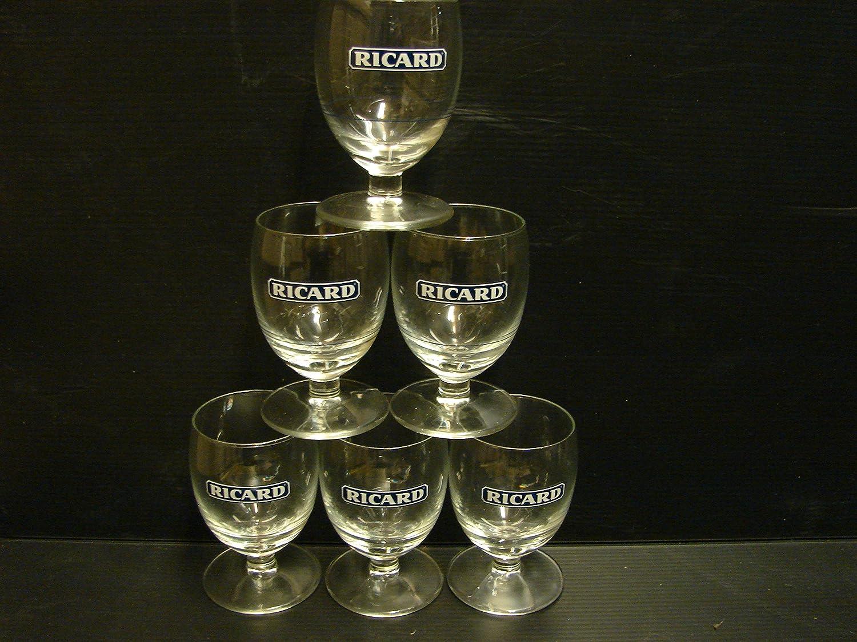 6 copas con forma de balón, con impresión «Ricard» de color azul ...