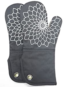 RED LMLDETA Silicone Printing Oven Mitts/Gloves 1 Pair, Heat Resistant to 500 Degree, Non-Slip for Home Kitchen Cooking Barbecue Microwave for Women/Men Machine Washable BBQ (Grey)