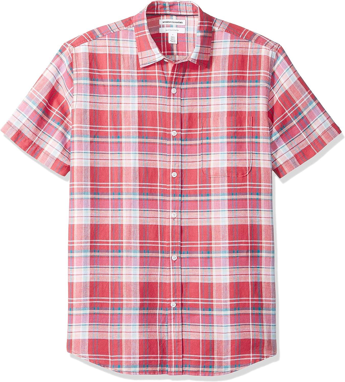 Essentials Herren-Hemd regul/äre Passform aus Leinen bedruckt Kurzarm