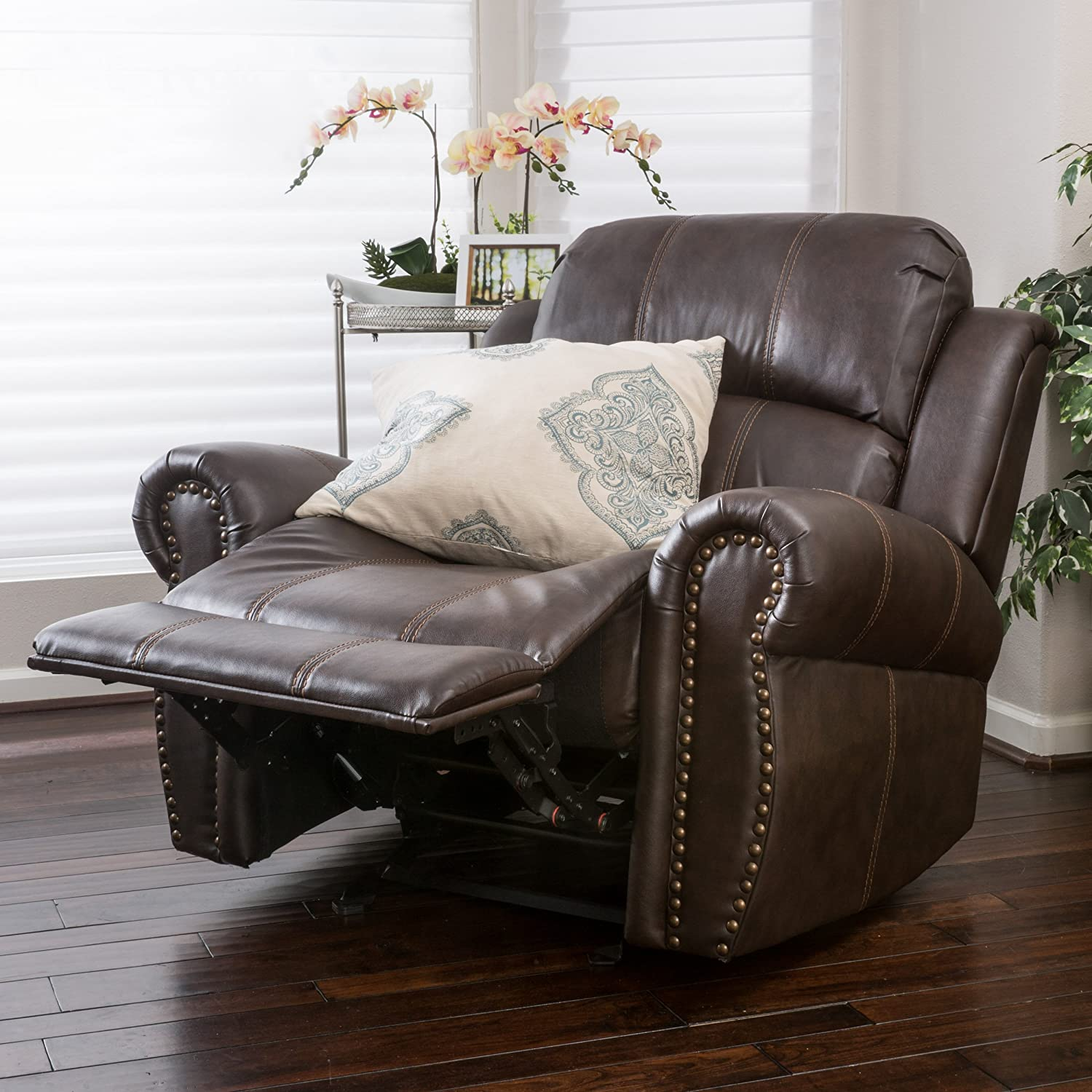 Christopher Knight Home 296466 Harbor Brown Leather Glider Recliner Club Chair