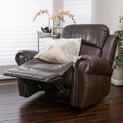 Great Deal Furniture Harbor Brown Leather Glider Recliner Club Chair