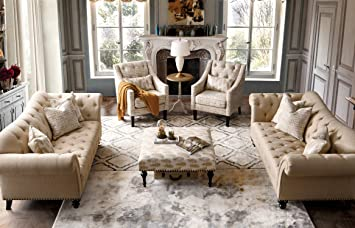 Acanva Luxury Chesterfield Vintage Living Room Family Sofa, Couch, Beige