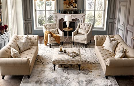 Acanva Collection Luxury Chesterfield Vintage Living Room Family Sofa,  Couch, Beige