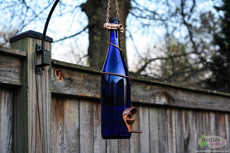 Blue and Copper Wine Bottle Bird Feeder Garden Gift Gift for Mom Patio Handmade Wine Bottle Decor Decor Outdoor Gift for Women