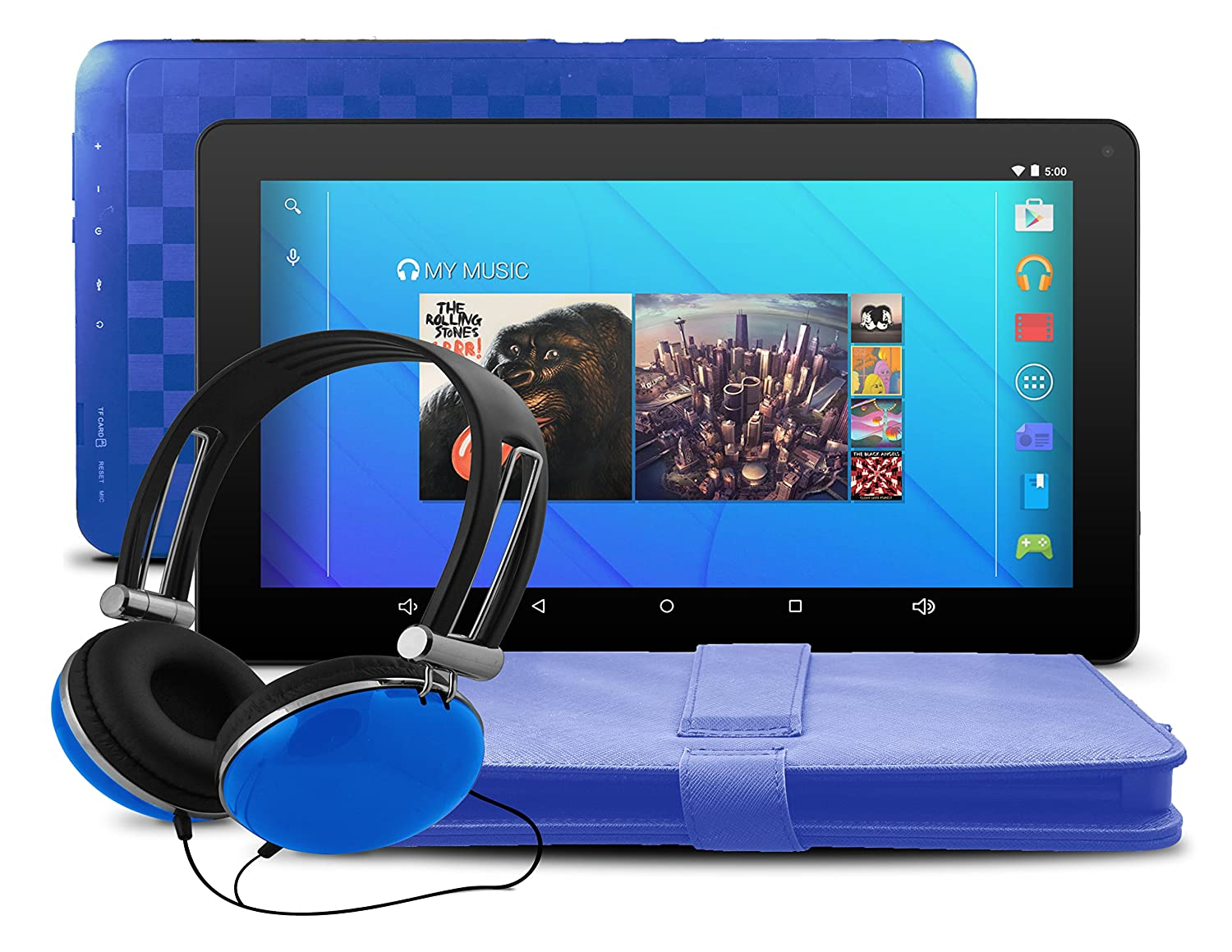 Ematic 10' Android 5.1 (Lollipop), Quad-Core 16GB Tablet with Keyboard Folio Case and Headphones, Blue EGQ223SKBU
