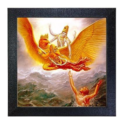 Sehaz Artworks Lord Vishnu Wall Photo Painting (Vinyl, 30 cm x 30 cm x 3 cm, Black, SZA-Lord_Vishnu_001)