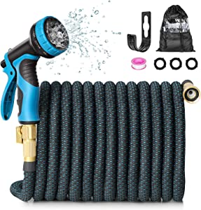 HAUEA Expandable Garden Hose 100FT Flexible Water Hose,Leakproof Expanding Hose with Water Tape and 9 Function Spray Nozzle for Watering and Washing