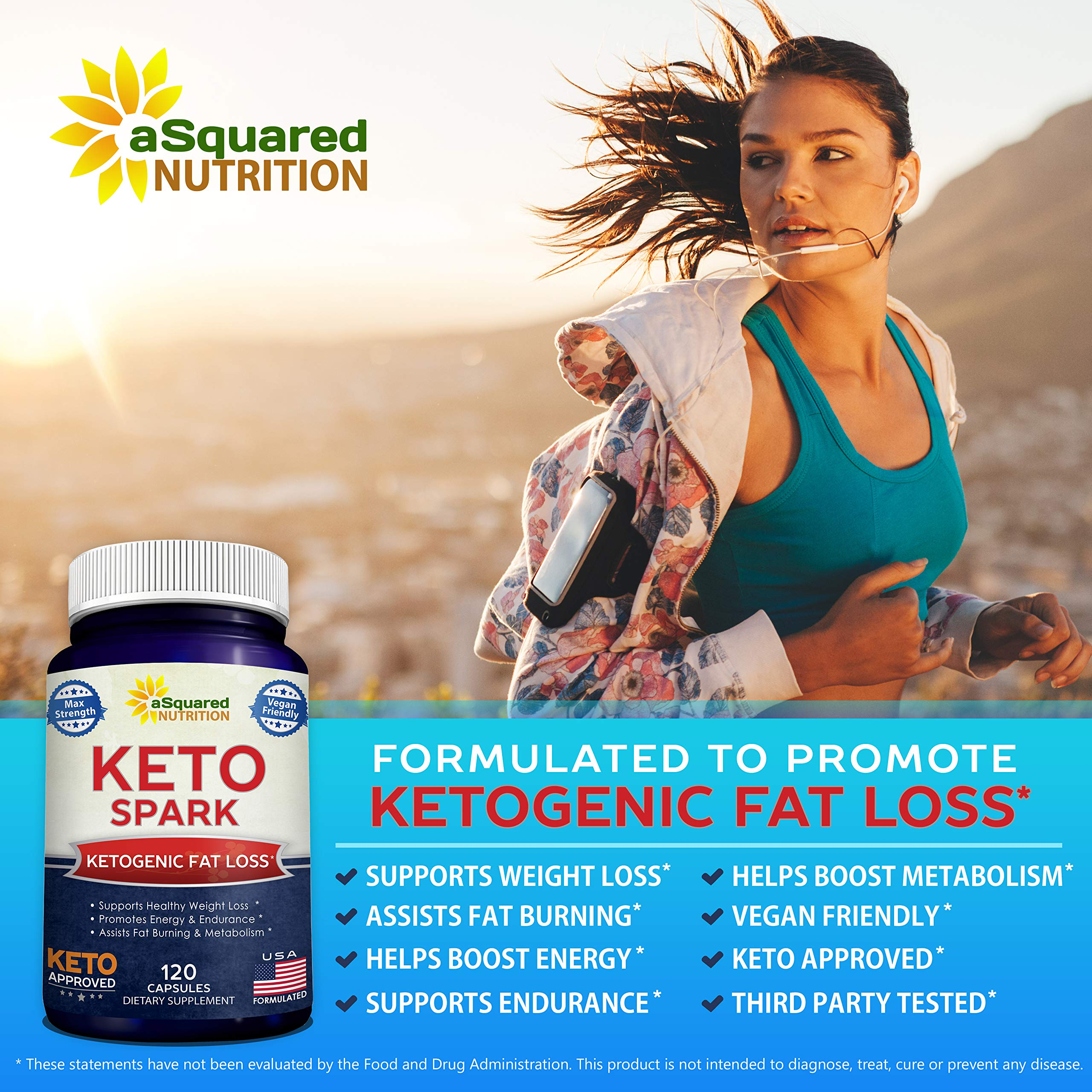 Keto Spark - Supplement for Weight Loss (120 Capsules) - Pills Approved for The Ketogenic & Paleo Diet - Helps Stay in Ketosis, Increase Energy & Focus - Caffeine & Ketones for Women & Men by aSquared Nutrition (Image #5)