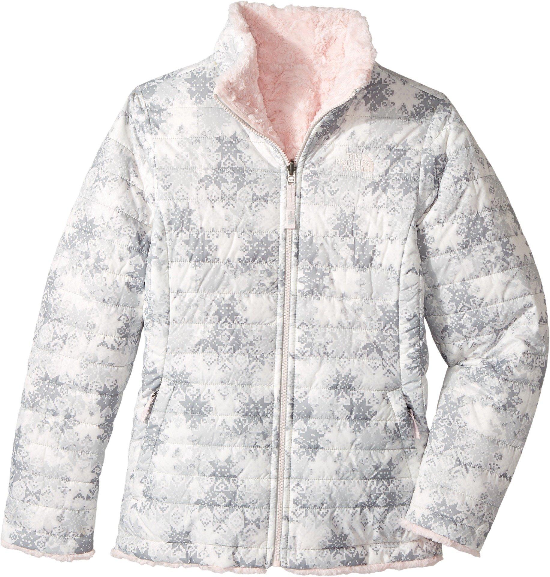 The North Face Girl's Reversible Mossbud Swirl Jacket - Algiers Blue Sponge Print - M (Past Season)