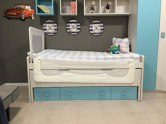 Barrera de cama para bebé, 150 x 66 cm. Modelo Blanco. Barrera de seguridad. Sello de calidad SGS.