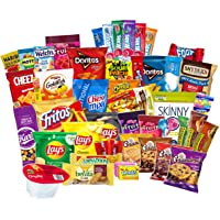 Ultimate Classic Snacks Package Variety Assortment of Chips Cookies Crackers Nuts Care Food Granola Bar Candy Gift Box Basket Bundle Mix Bulk Sampler Treats College Students Office School 50 Count