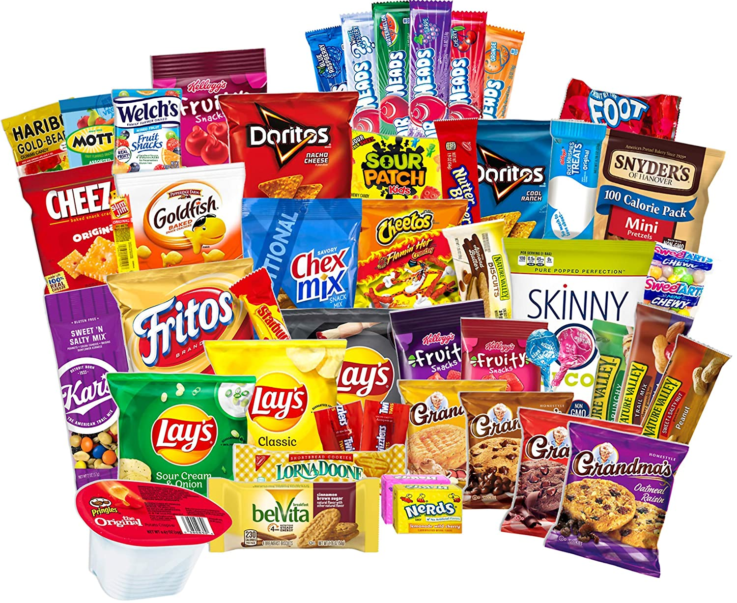 Ultimate Classic Snacks Care Package Variety Assortments of Chips Cookies Crackers Nuts Food Granola Bar Candy Gift Box Basket Bundle Mix Bulk Samplers Treats College Students Office School Set of 60