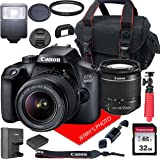 Canon EOS 4000D DSLR Camera w/Canon EF-S 18-55mm F/3.5-5.6 III Zoom Lens + Case + 32GB SD Card (15pc Bundle) (Renewed)