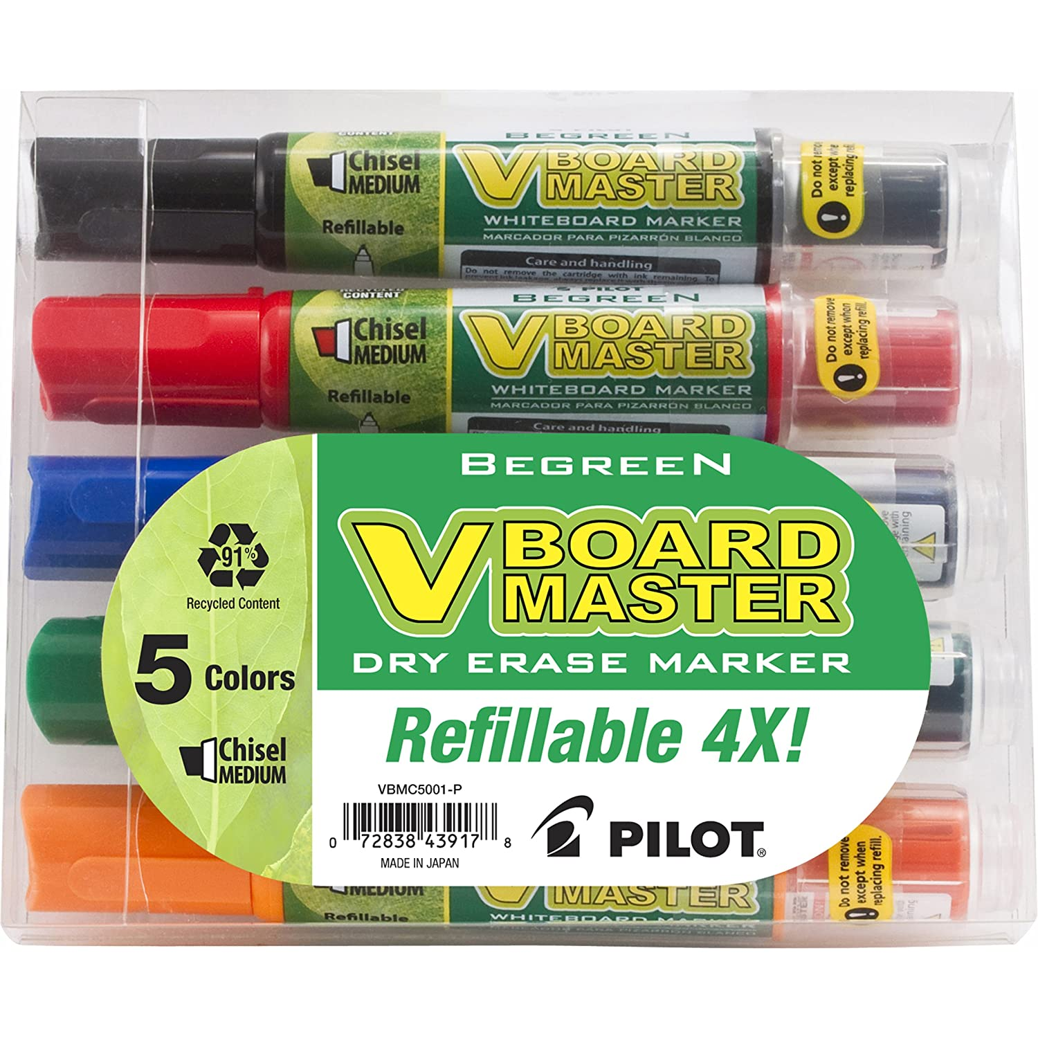 Pilot BeGreen V Board Master Whiteboard Markers, Chisel Point, 5-Pack, Assorted Colors (43917)