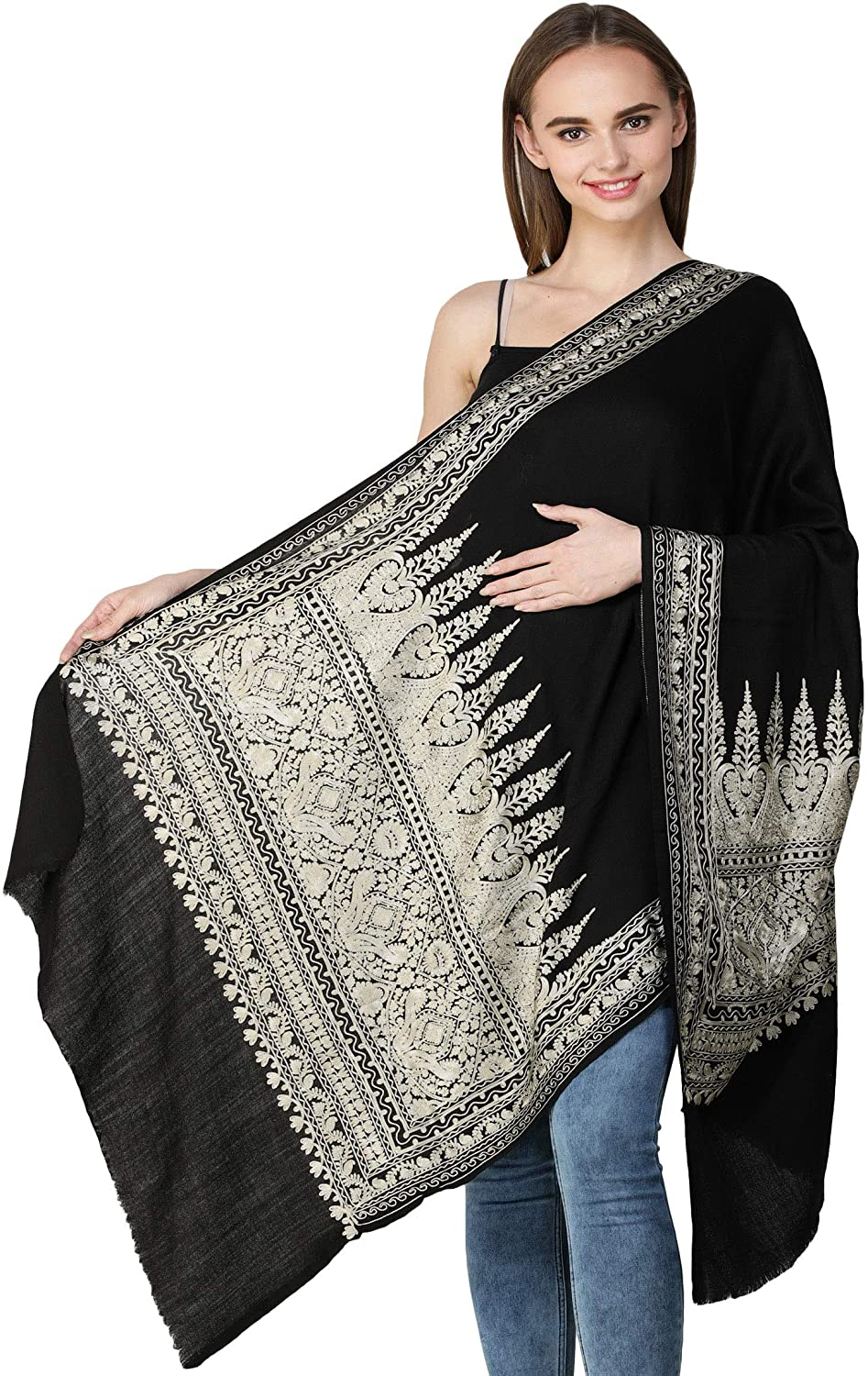 Exotic India Stole from Amritsar with Ari-Embroidered G Color Jet Black