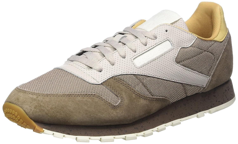 Reebok Herren Classic Leather SM Sneaker  42.5 EU|Braun (Stone Grey/Sand Stone/Urban Grey/Beige/Chalk/White)