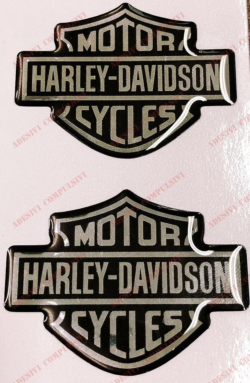 Stemma logo decal HARLEY DAVIDSON, coppia adesivi resinati, effetto 3D. Per SERBATOIO o CASCO. Nero-Cromo Adesivi Compulsivi