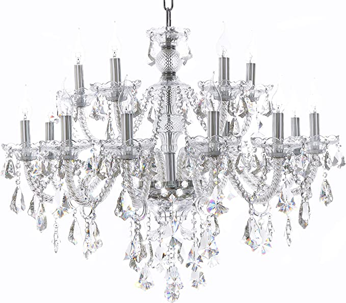 Clear 15 Lights K9 Crystal Chandelier Modern Luxurious Light Candle Pendant Lamp Ceiling Living Room Lighting for Dining Living Room Bedroom Hallway Entry 32x35 Inch Gifts(Color Clear)