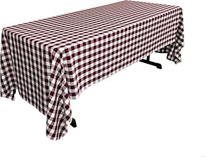 La Linen Checkered Tablecloth 60 By 120 Inch Burgundy Amazon Co Uk Kitchen Home
