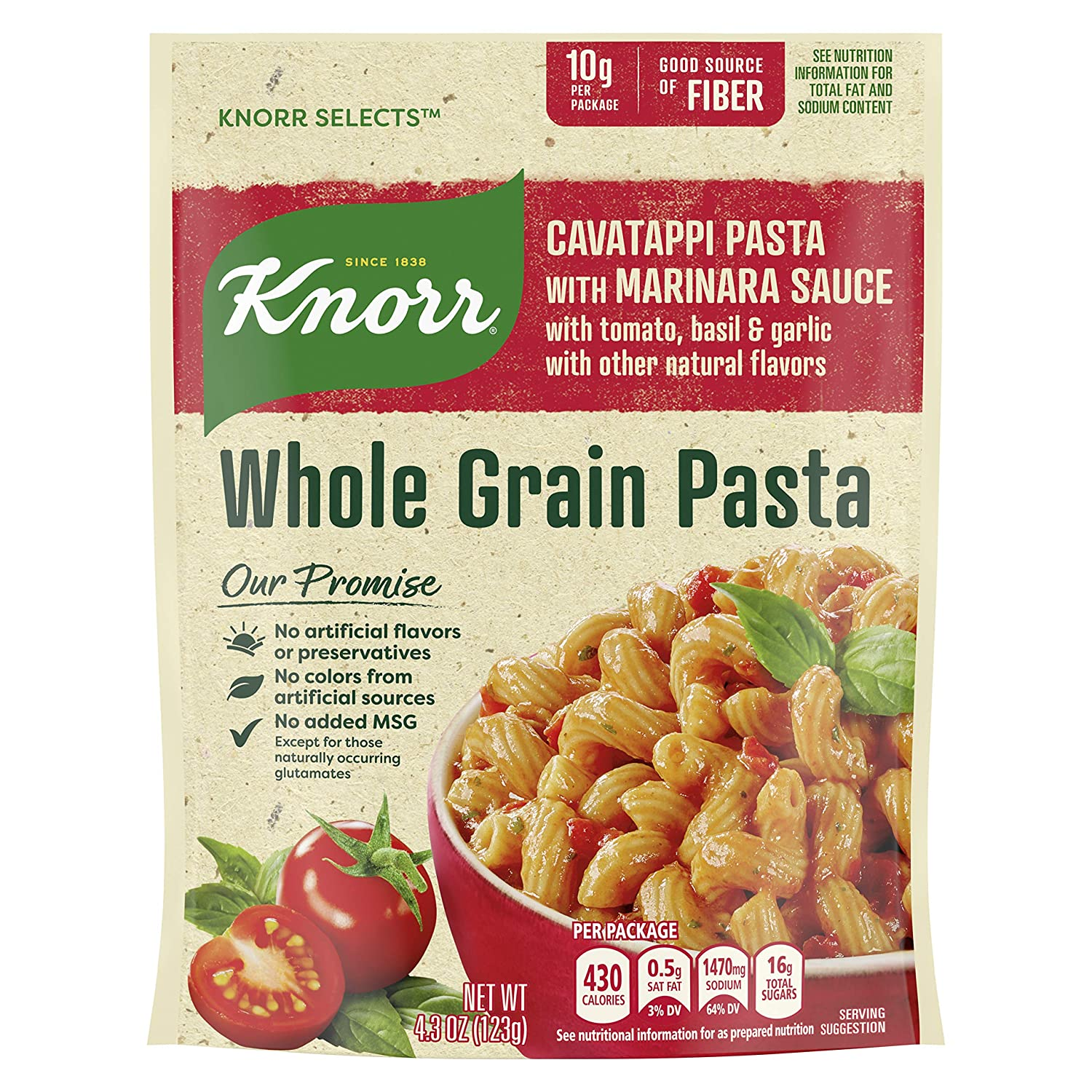Knorr Selects Whole Grain Pasta For a Delicious Pasta Side Dish Cavatappi with Marinara Sauce Good Source of Fiber 4.3 oz