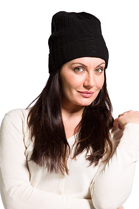 2064e1da401 Fishers Finery Women s 100% Pure Cashmere Cable Knit Hat  Super Soft   Cuffed (Black) at Amazon Women s Clothing store  Cashmere Beanie Men