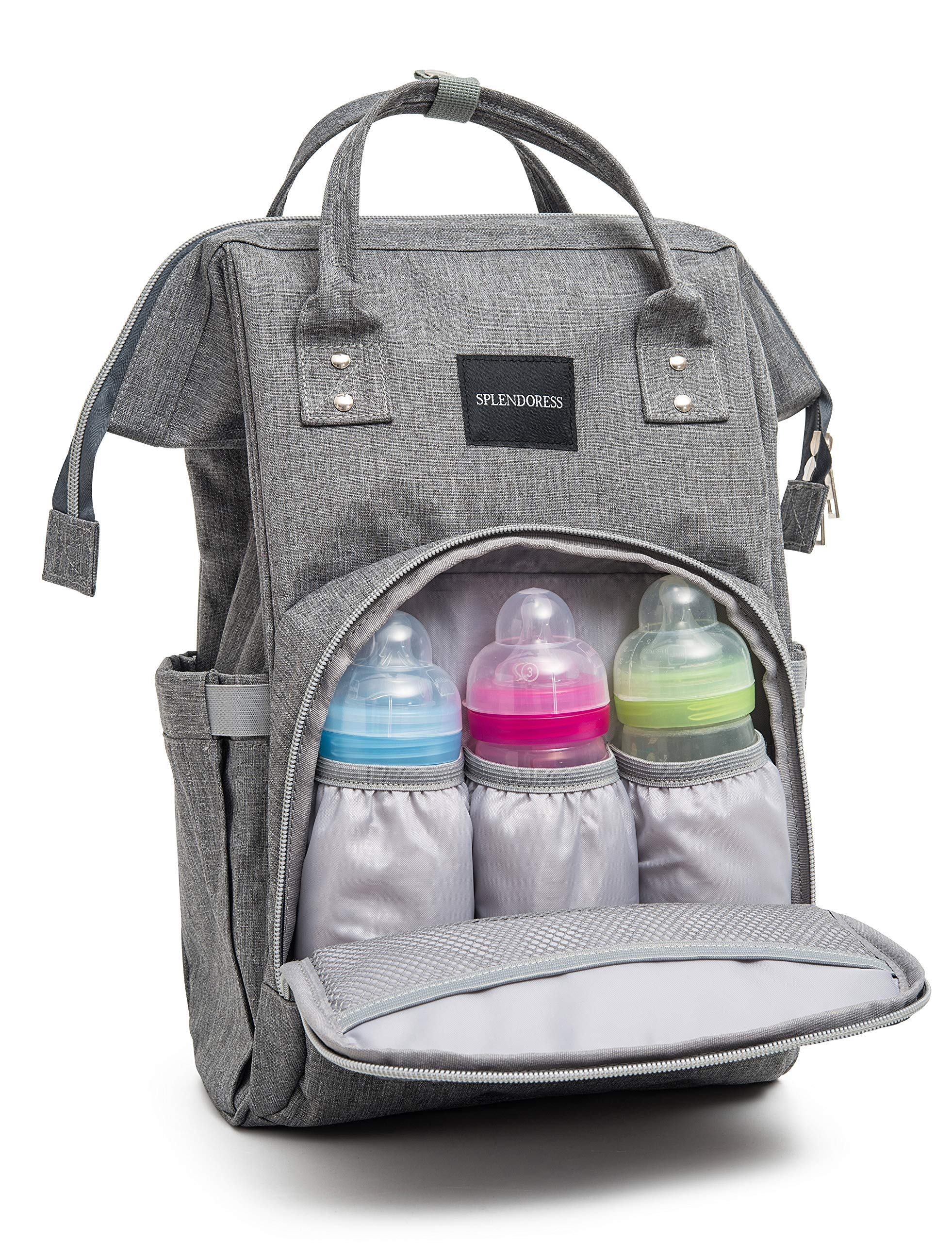 Baby Diaper Bag Backpack with Free Changing Pad - Waterproof Maternity Bag Organizer for Boy or Girl - Large Capacity Nappy Tote Stylish and Durable for Men and Women -Grey