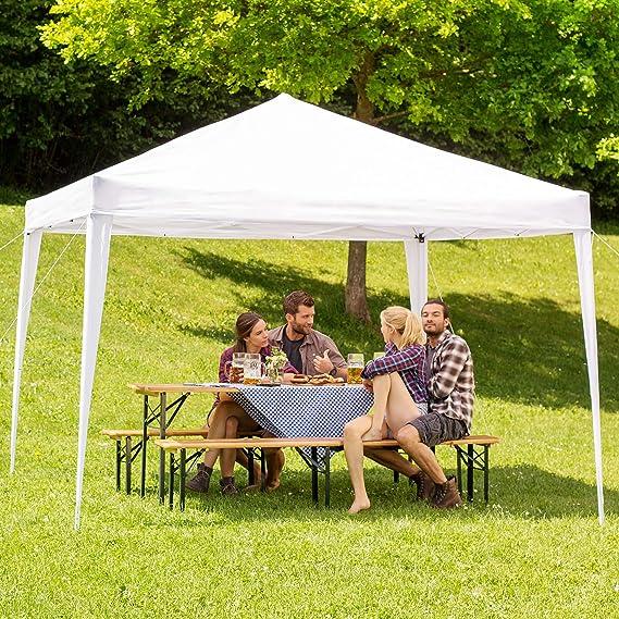 TecTake Gazebo Plegable jardín Fiesta Tienda de campaña Carpa pabellón 3x3 m con Funda de Transporte (Blanco | No. 401619): Amazon.es: Jardín