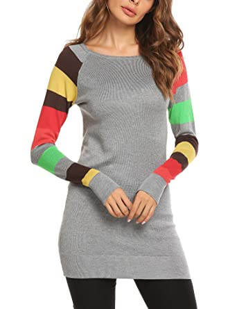 4d631de401 Image Unavailable. Image not available for. Color  Zeagoo Women Cotton  Knitted Long Sleeve Lightweight Tunic Sweatshirt Gray S