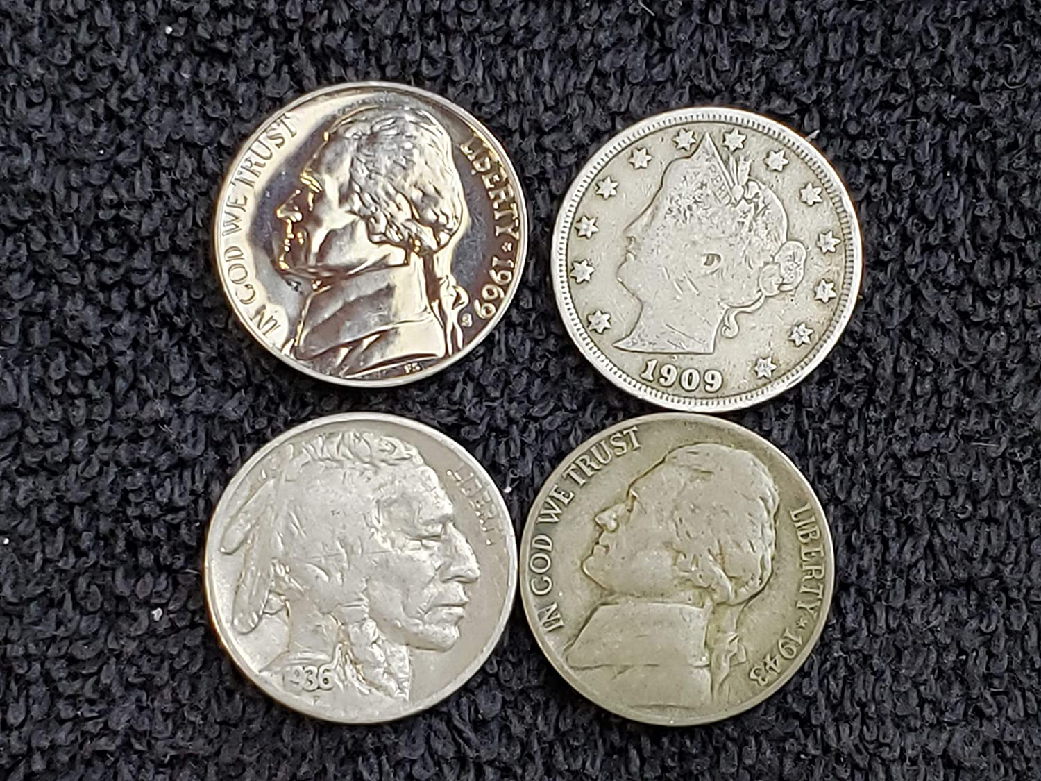 Lot of 4 Different Type Nickels - Liberty (1883-1912), Buffalo (1913-1938),  Silver War Nickel (1942-45) and Proof Jefferson (1956-1999) 5c All grade