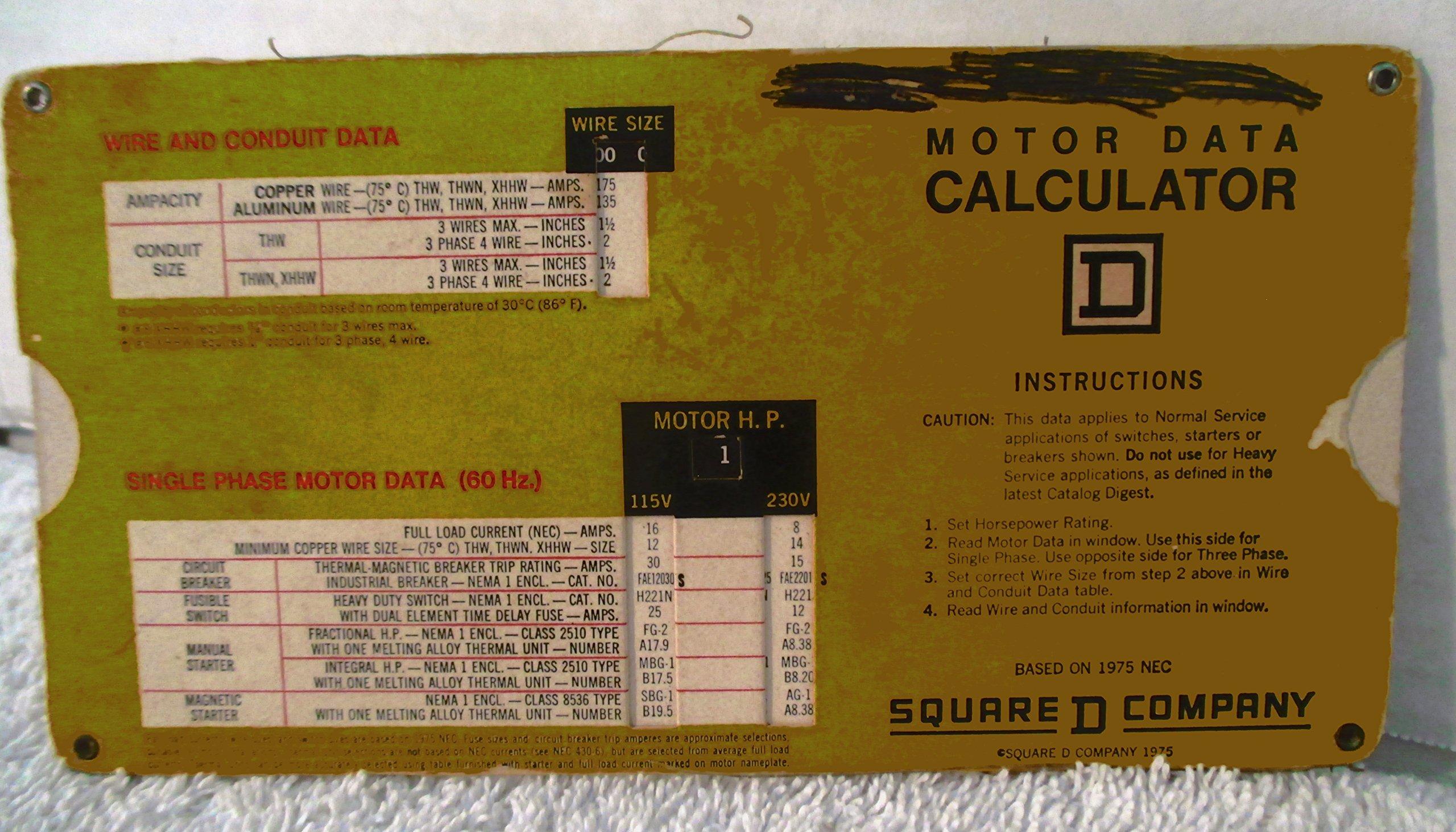1975 Motor Data Calculator Slide Card from Square D Single & Three