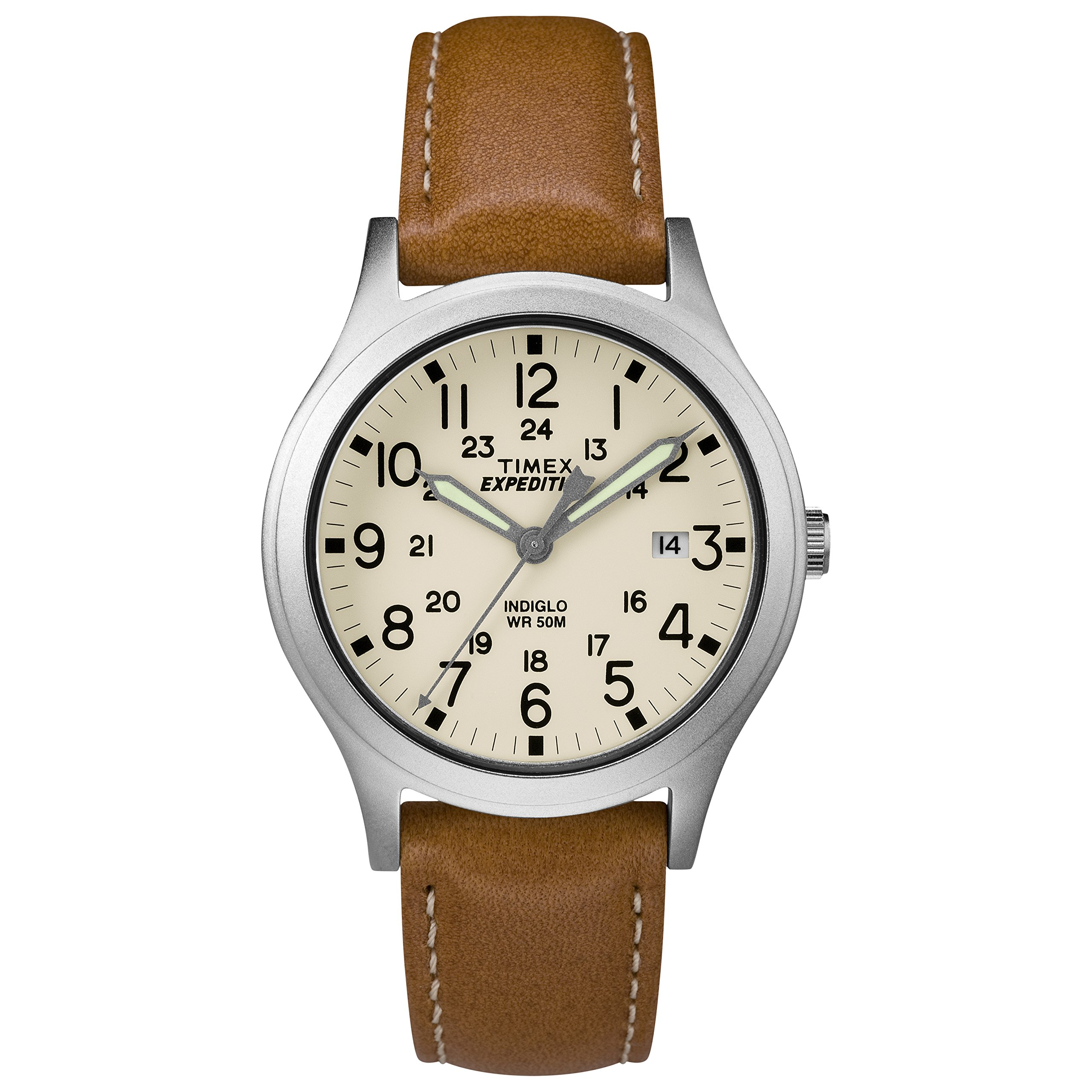 Timex Unisex TW4B11000 Expedition Scout 36 Tan/Silver/Natural Leather Strap Watch