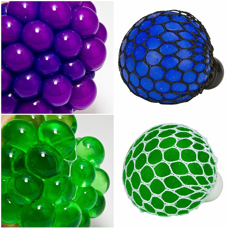 2 Glitter and 2 Color Changing Mesh Stress Balls Including 1 LED Light Up Purple Ladybug Novelty Squishy Mesh Ball Variety 6 Stress Relief Squishy Mesh Balls Great Sensory Toys!