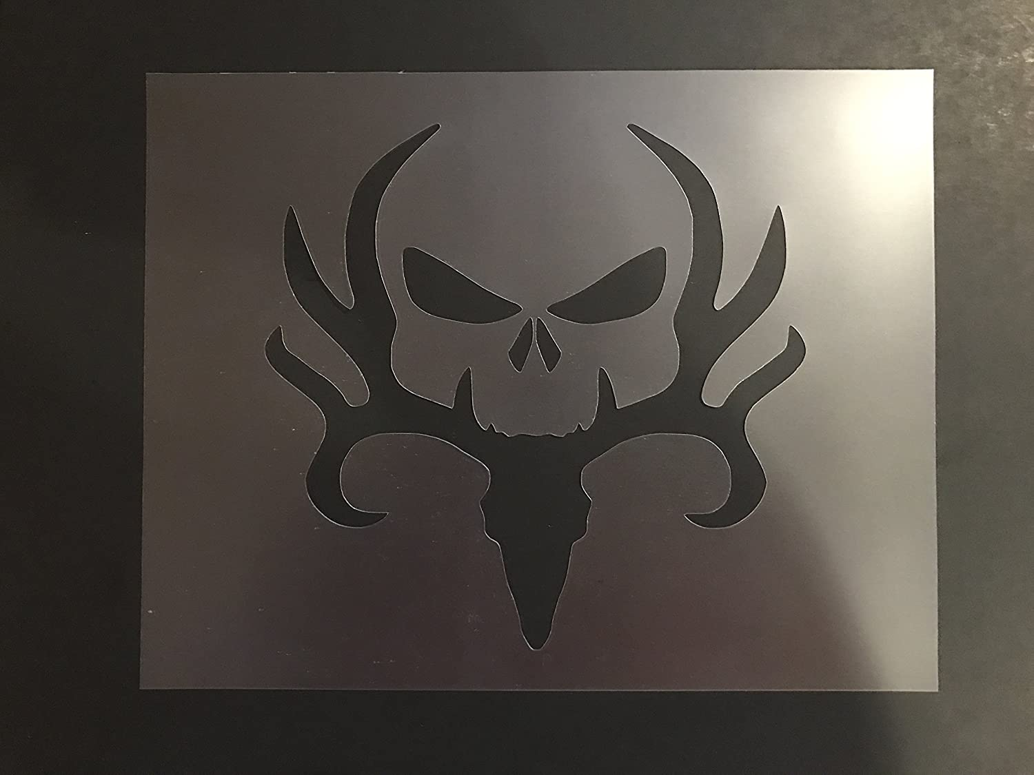 Deer and Skull Stencil #1 Reusable 10 mil Thick 7in x 9in sheet