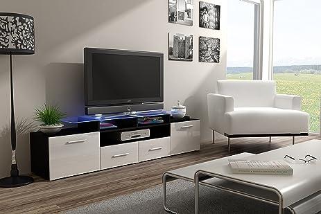 ENEA GRAND With Top Glass Shelf Tv Stand   High Gloss Tv Cabinet / Design  Furniture
