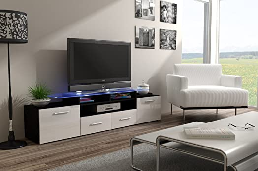 Modern HIGH GLOSS EVORA BLACK TV Stand Display Cabinet WALL Entertainment  UNITTV CABINETS / TV STANDS
