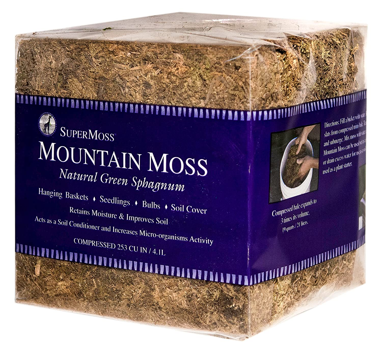 Supermosss Mountin Moss Fine Dried Green Sphagnum Mini Bale Super Moss 23820