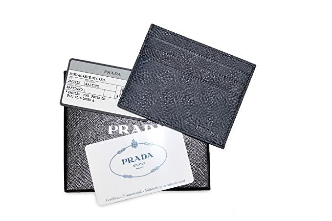 06b730cb8b64 Image Unavailable. Image not available for. Colour: Prada Saffiano Leather  Card Case Wallet, Baltico Blue 2MC223