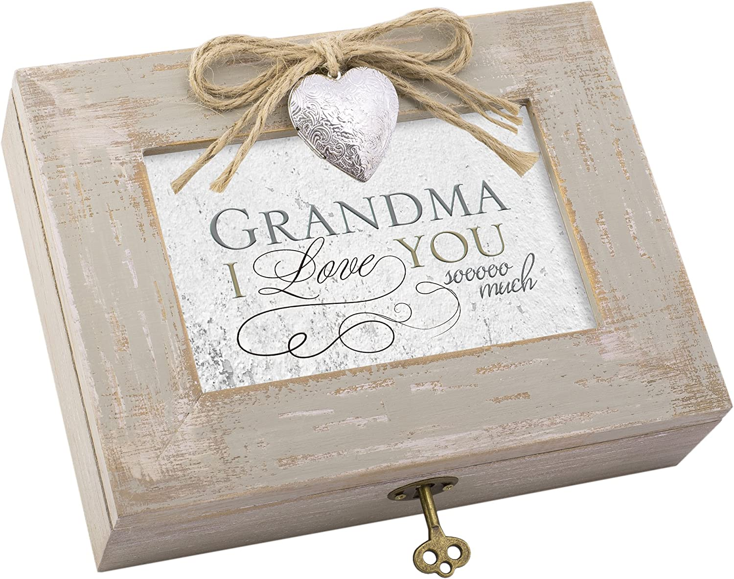 Cottage Garden Grandma I Love You So Much Natural Taupe Jewelry Music Box Plays Edelweiss