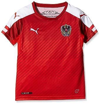Puma Austria Home Replica Camiseta de fútbol para niño, Red/White, 152,