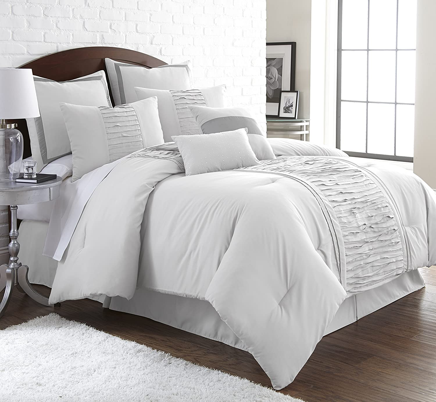 Amazon com  Marilyn Embellished Off white 8 piece Comforter Set King  Off white  Home   Kitchen. Amazon com  Marilyn Embellished Off white 8 piece Comforter Set
