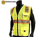 KwikSafety CLASSIC | Class 2 Safety Vest | 360° Hi Viz Reflective ANSI Compliant Work Wear | Hi Vis Breathable Mesh Expandable Pockets | Men & Women Regular to Oversized Fit | Yellow L/XL