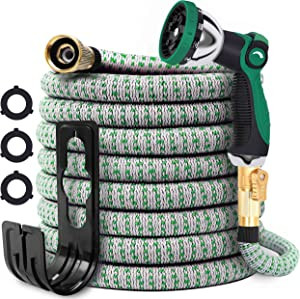 Expandable Garden Hose 25ft - Water Hose with 10 Function Zinc Nozzle and Durable Connectors,Extra Strength Fabric,Lightweight Garden Hose,Flexible Hose for Watering