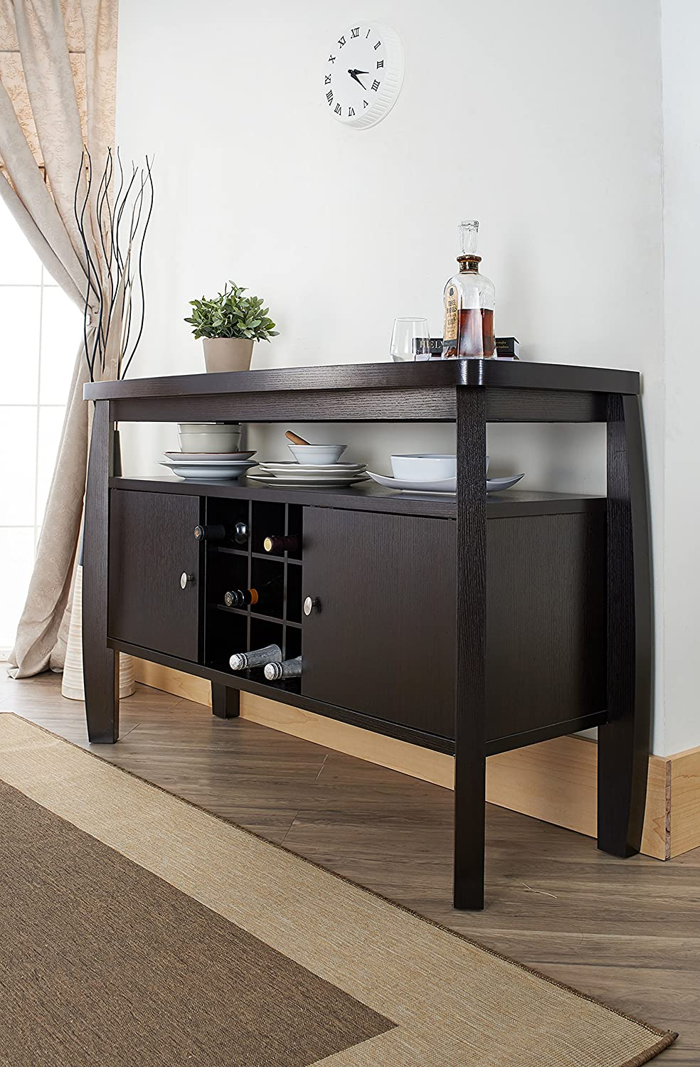 Amazon.com   IoHOMES Clyton Dining Buffet, Dark Espresso   Buffets U0026  Sideboards