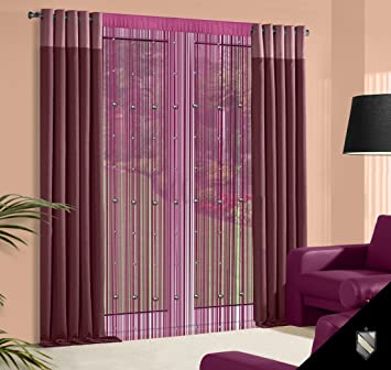 140 x 245 Cm violet/prune/mauve spaghetti rideau à galon fronceur ...
