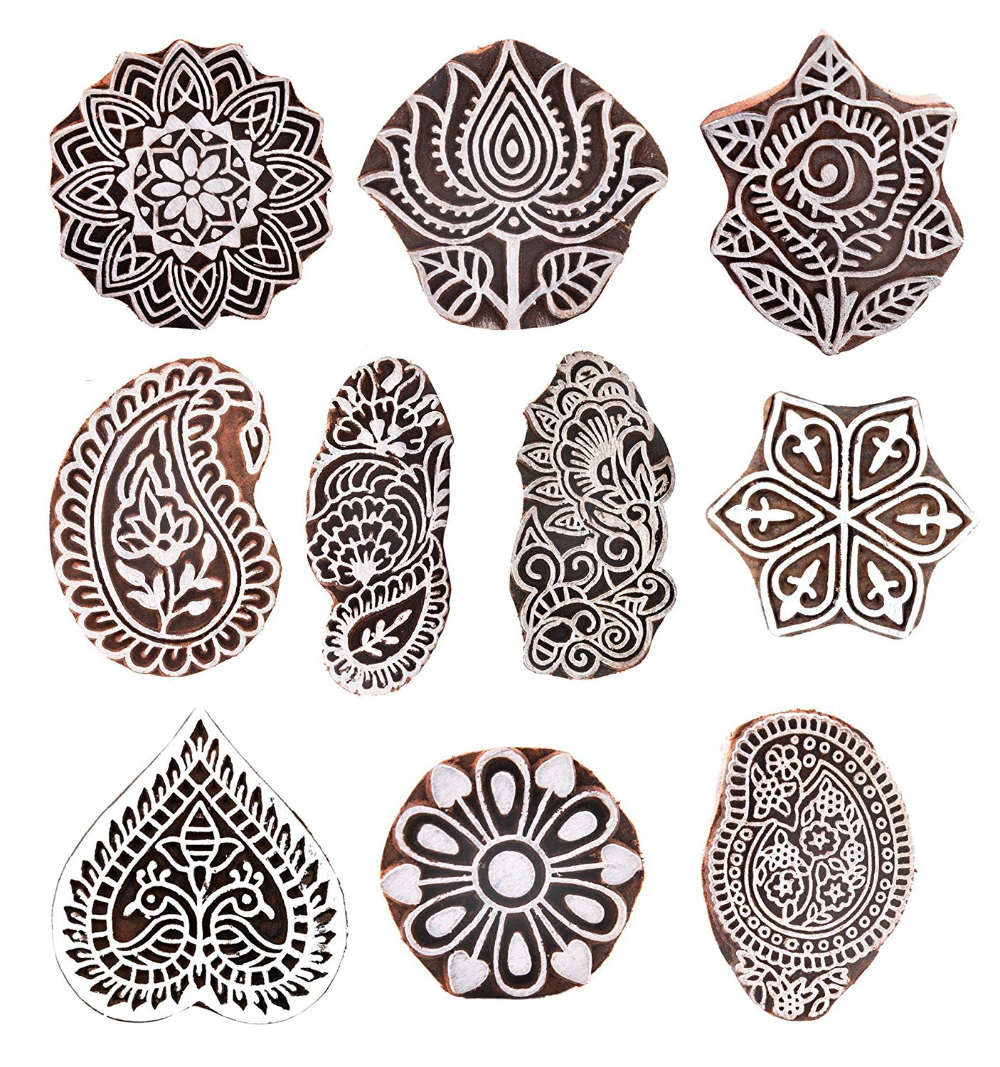 JGARTS Printing Stamps Mughal Design Wooden Blocks (Set of 10) Hand-Carved for Saree Border Making Pottery Crafts Textile Printing Handmade INDIA