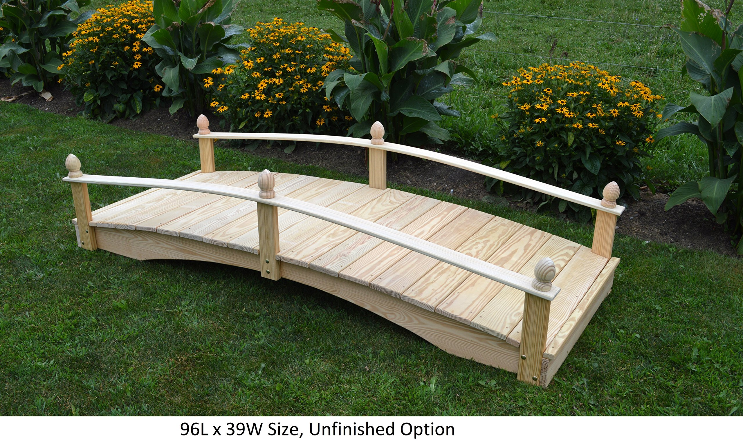 Amish-Made Weight-Bearing Pine 3' x 10' Acorn Garden Bridge, Unfinished
